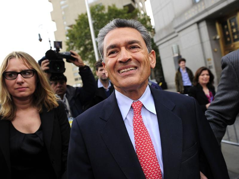 Former head of global consulting firm McKinsey & Co. and former director at Goldman Sachs Group, Rajat Gupta leaves federal court in New York. (AFP)