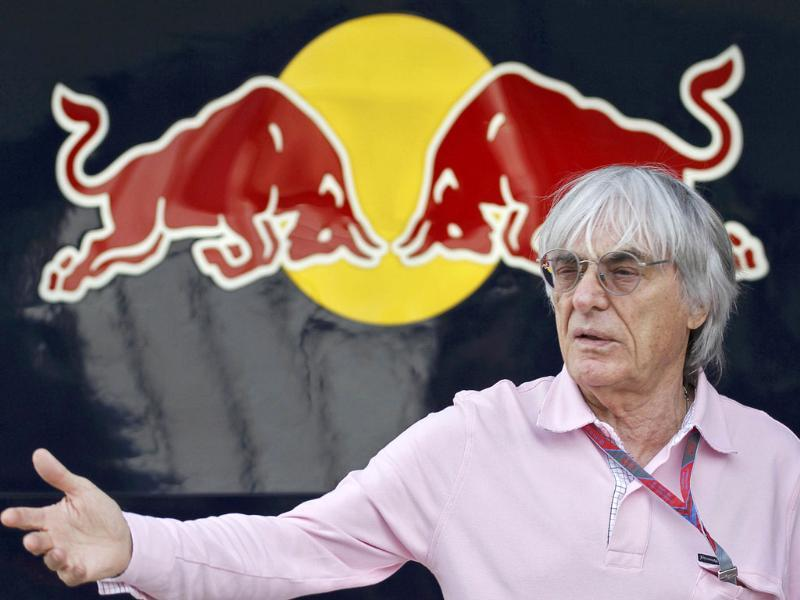 Formula One supremo Bernie Ecclestone gestures in front of the Red Bull garage at the Buddh International Circuit in Greater Noida. (Reuters)