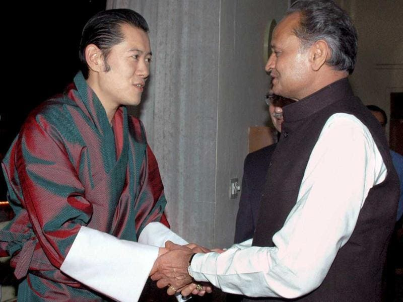 Bhutan King Jigme Khesar Namgyel Wangchuk meeting Rajasthan chief minister Ashok Gehlot in Jaipur on Thursday night during their three-day visit to the state.