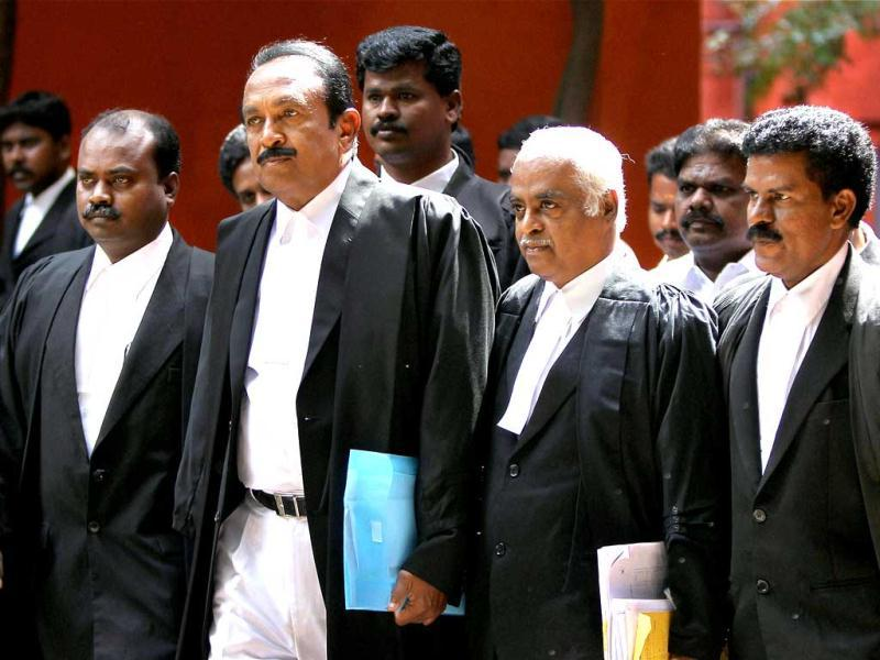 MDMK general secretary Vaiko along with lawyers coming out after representing Rajiv Gandhi's assassins at Madras High Court in Chennai on Friday.