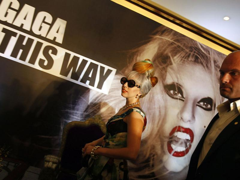 US singer Lady Gaga leaves after attending a press conference in New Delhi. (AP)