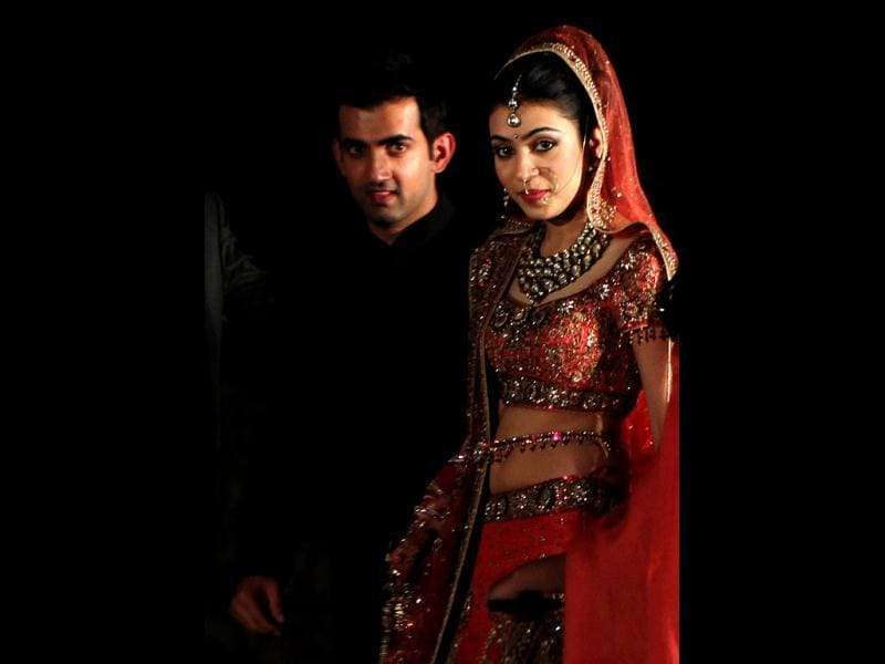 Gautam Gambhir with his bride Natasha pose for a photo during their marriage in New Delhi.