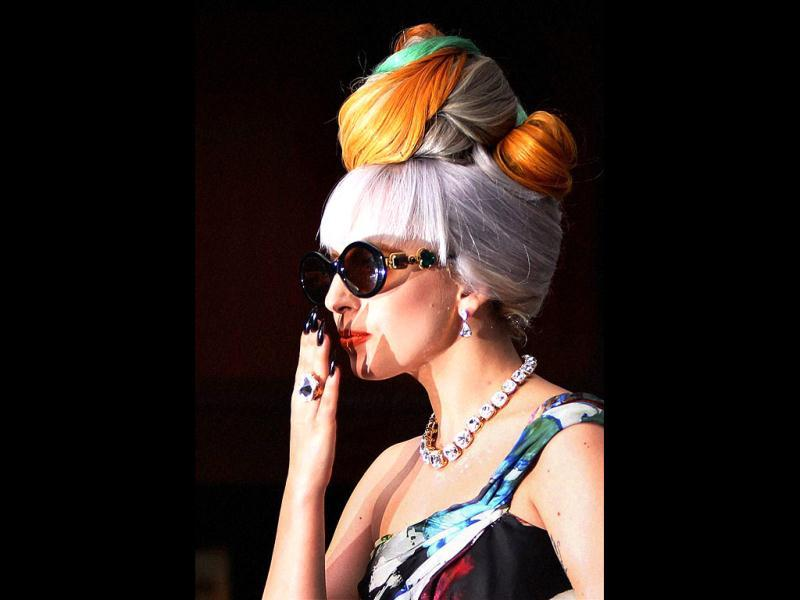 Lady Gaga blows some flying kisses during a press conference in New Delhi. (PTI)