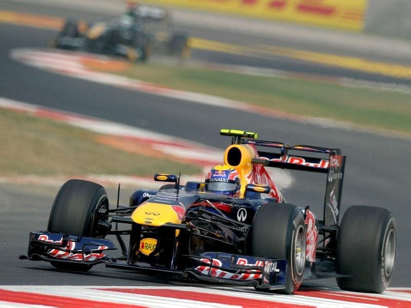 Red Bull-Renault driver Mark Webber of Australia powers his car during the third practise session of the Formula One Indian Grand Prix in Greater Noida.