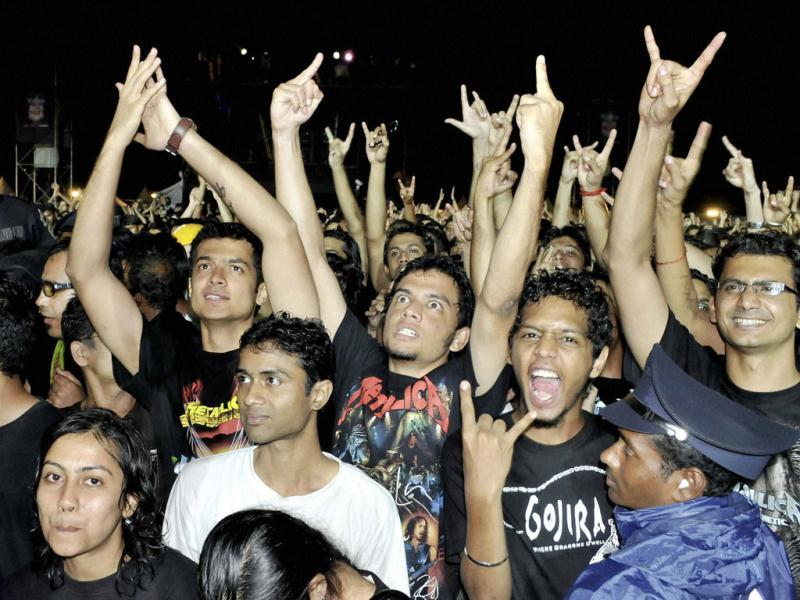 Fans of heavy metal giant Metallica enjoy the concert at Palace grounds in Bangalore.