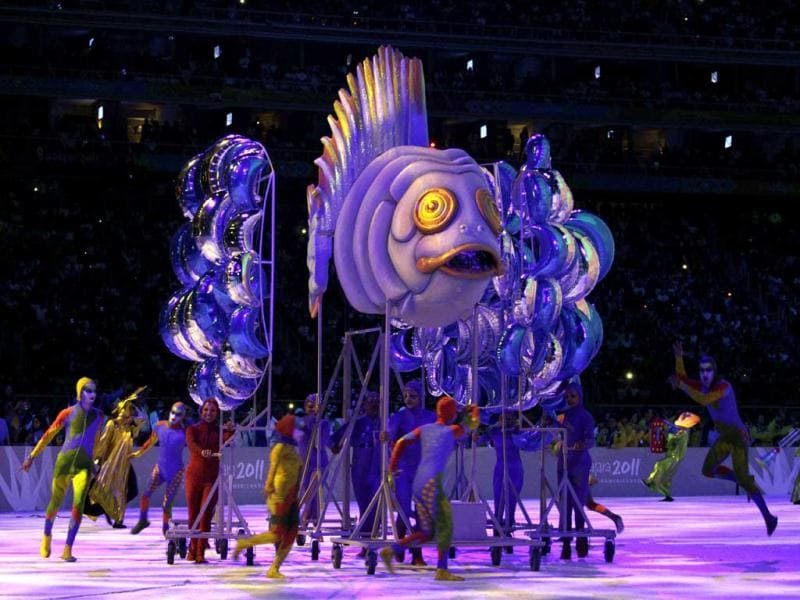 Dancers perform during Toronto's presentation at the closing ceremony of the Pan American Games in Guadalajara, Mexico.