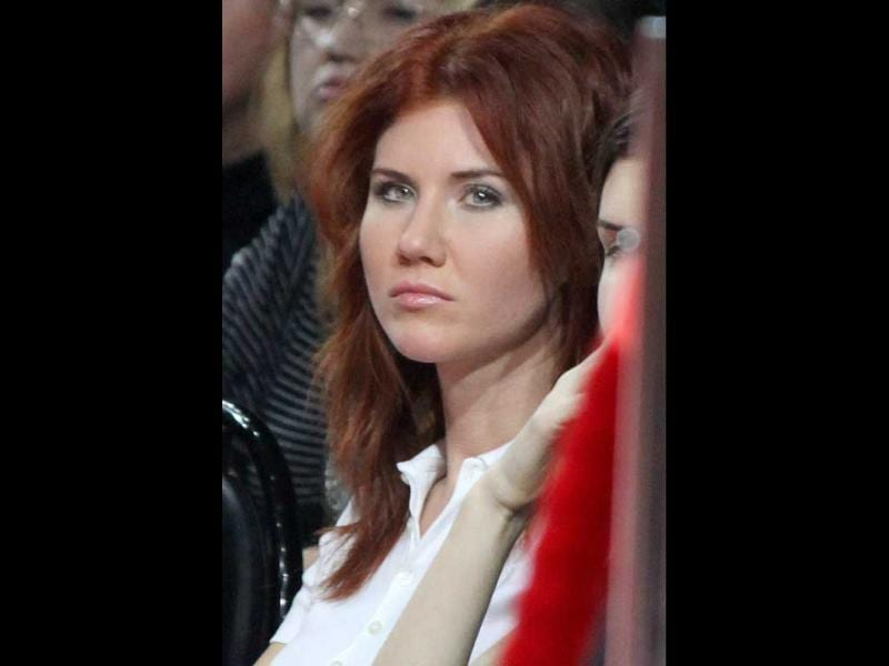 Anna Chapman, who was deported from the US on charges of espionage, is seen during the display of creations by Russian designer Ilia Shiyan at the Volvo Fashion Week in Moscow, Russia.
