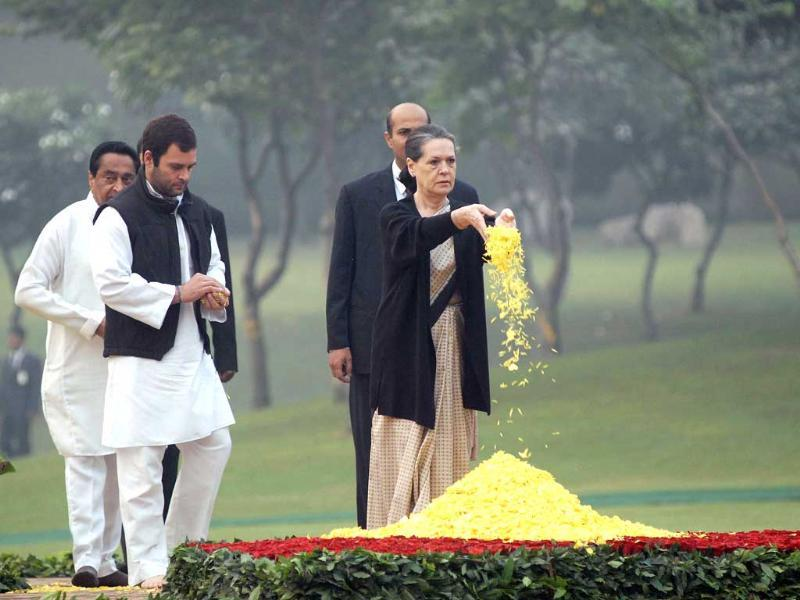 Sonia Gandhi with son Rahul Gandhi paying tribute to former Prime Minister Indira Gandhi at a remembrance ceremony on the occasion of her 27th death anniversary at Shakti Sthal in New Delhi.