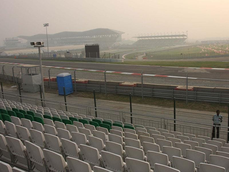 Empty stands at International Buddh Circuit a day after Indian Grand Prix event was held at Greater Noida. HT Photo By Rishi Ballabh
