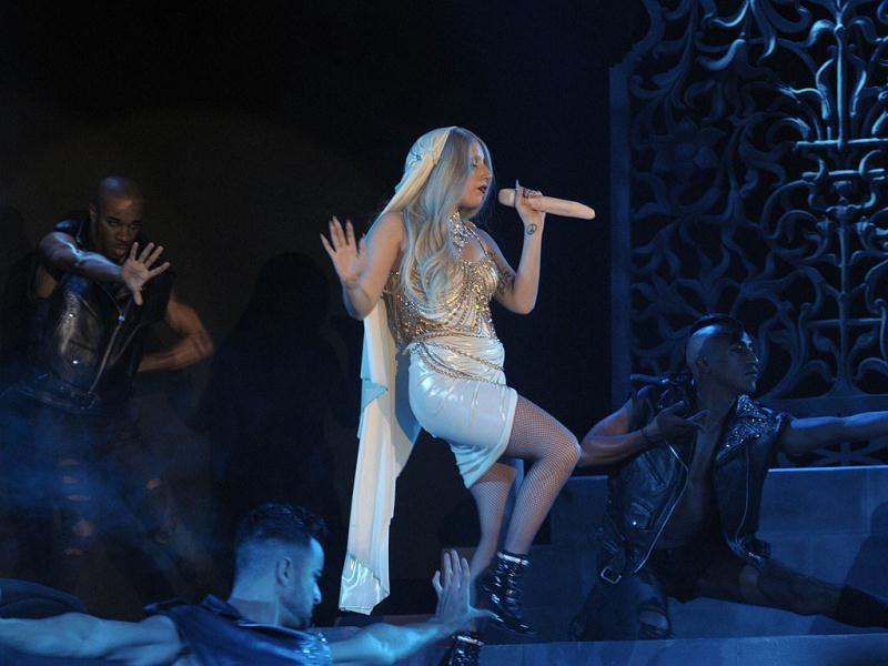 Pop diva Lady Gaga performs onstage at Indian Grand Prix afterparty.