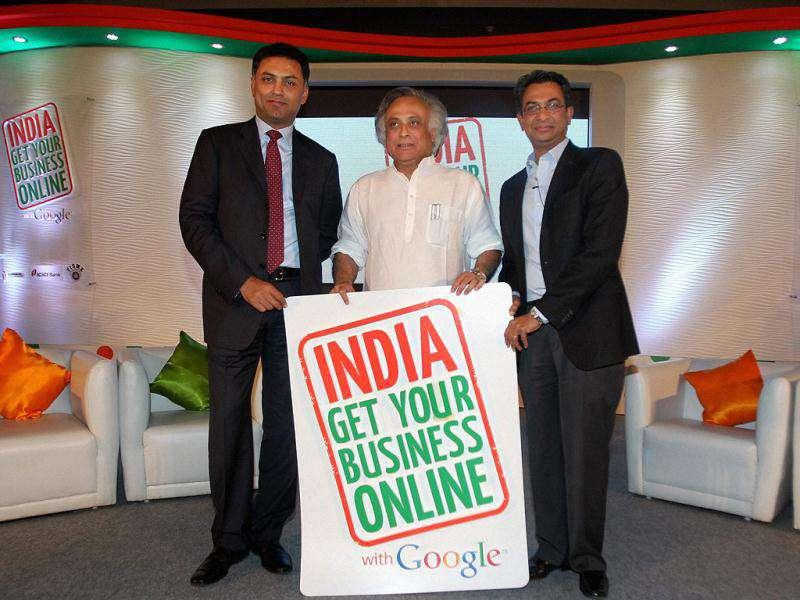 Rural Development minister Jairam Ramesh, with Nikesh Arora, president, Global Sales Operations and Business Development of Google and vice president Rajan Anandan launching a nationwide initiative to help small and medium businesses in New Delhi.