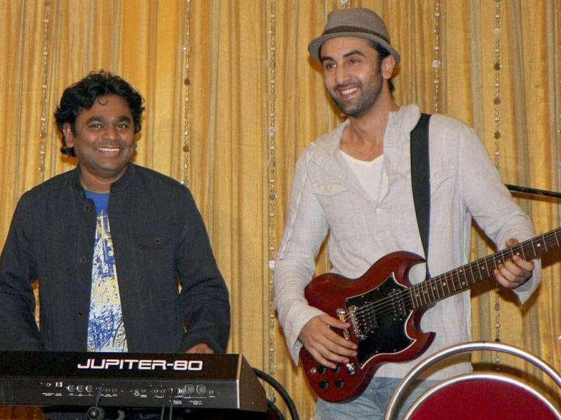 Ranbir with Rahman during a rehearsal for the concert. (© PTI)