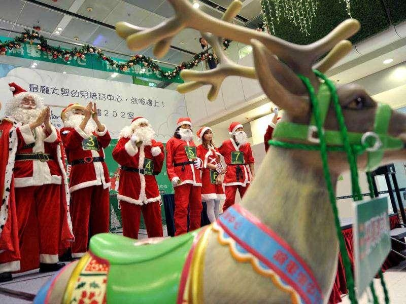 Contestants of the eighth Santa Claus Winter Games Hong Kong Round stand together in Hong Kong. The winner will be competing in Sweden at the annual Santa Winter Games in Sweden in mid November. Representatives from Hong Kong claimed the world title in 2009 and came third in 2010.