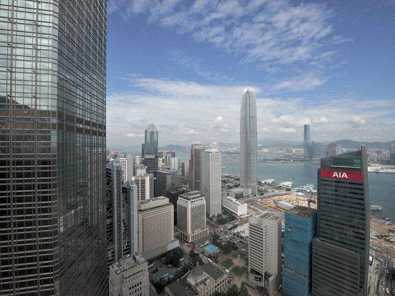 Office blocks including the International Finance Center (C) are seen in Hong Kong. Hong Kong office rents currently top all other cities in the world with an average of $ $213.70 per sq ft per annum, with an increase of 32.3 % over the past year.
