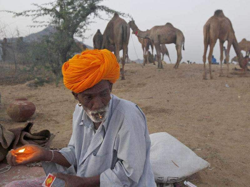 A camel herder smokes at the Pushkar fair in Pushkar, Rajasthan State. Pushkar, located on the banks of Pushkar Lake, is a popular Hindu pilgrimage spot that is also frequented by foreign tourists for its annual cattle fair and camel races.
