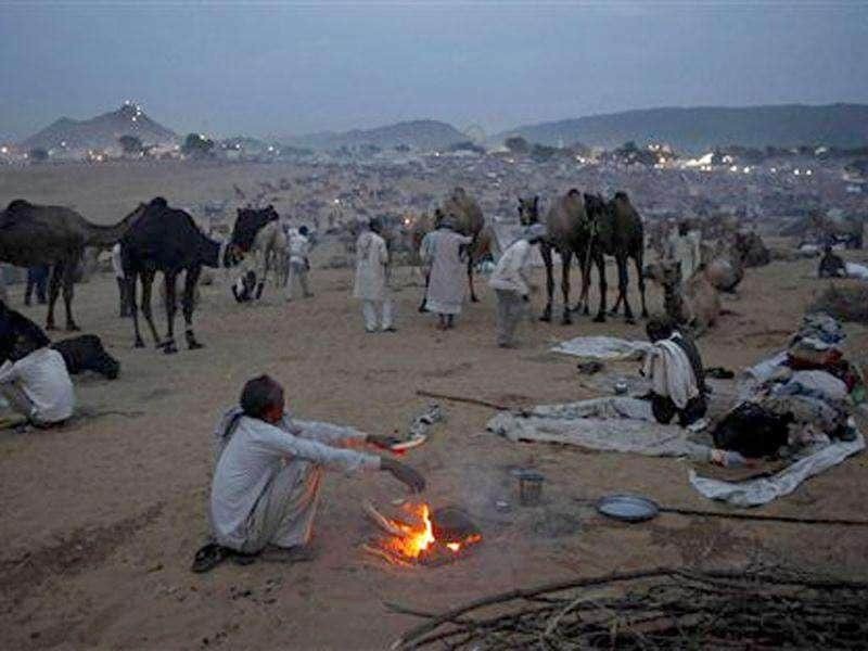 A camel herder prepares food for himself at the end of the day at the Pushkar fair, in Rajasthan. Pushkar, located on the banks of Pushkar Lake, is a popular Hindu pilgrimage spot that is also frequented by foreign tourists for its annual cattle fair and camel races.