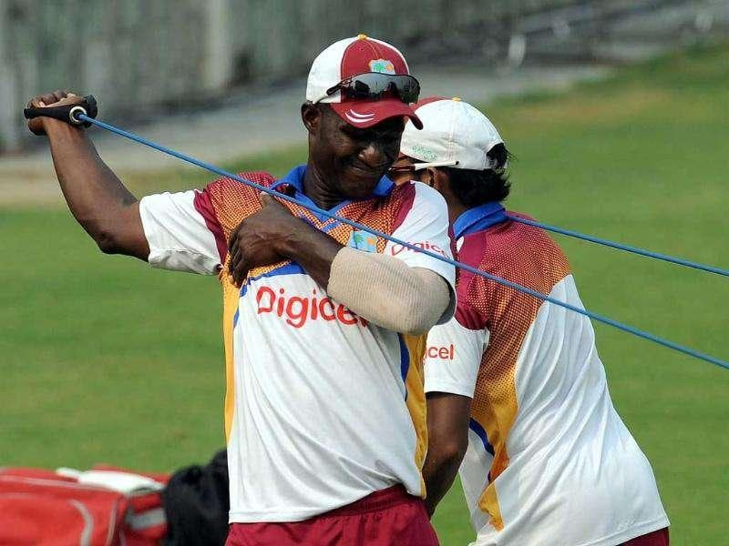 Windies captain Darren Sammy warms up during a training session at The Ferozeshah Kotla Stadium in New Delhi.