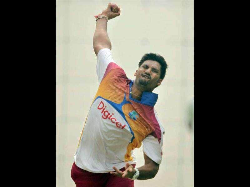 West Indies cricketer Ravi Rampaul during a practice session ahead of first test match against India in New Delhi.