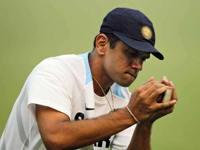 Rahul Dravid catches a ball during a practice session in New Delhi.