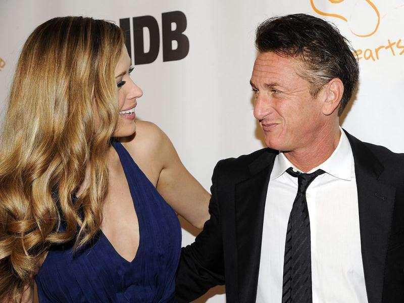 Happy Hearts Fund founder Petra Nemcova greets honoree actor Sean Penn at the Happy Hearts Fund: Land of Dreams, Haiti Gala in New York.