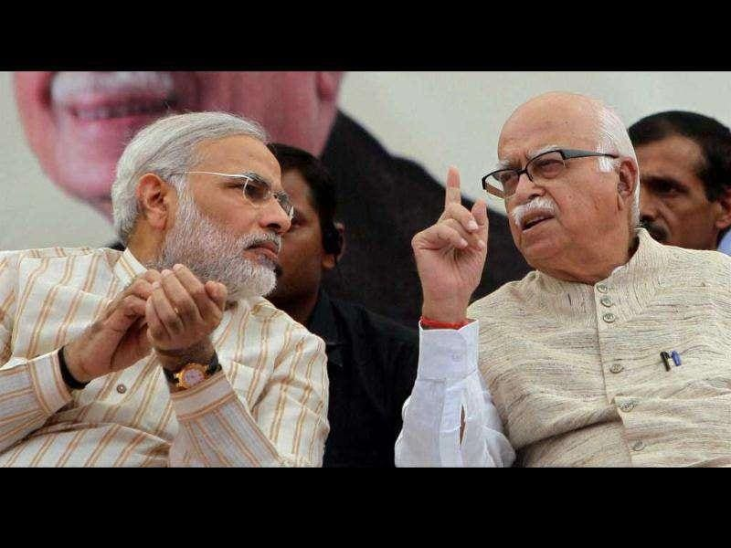 File photo of of senior BJP Leader LK Advani and Gujarat chief minister Narender Modi in Bharuch.PTI/Manvender Vashist