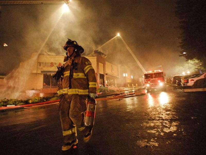 Metro fire department contains a three alarm fire on Sunrise and Greenback in Citrus Heights, California. About 80 firefighters were battling the blaze that had engulfed a store in the suburban Sacramento strip mall.