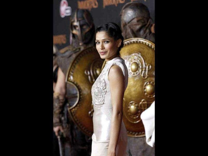 Cast member Freida Pinto poses at the world premiere of