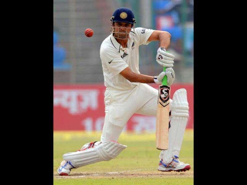 India cricketer Rahul Dravid plays a shot during the third day of the First Test Match against the West Indies at the Feroz Shah Kotla stadium in New Delhi.