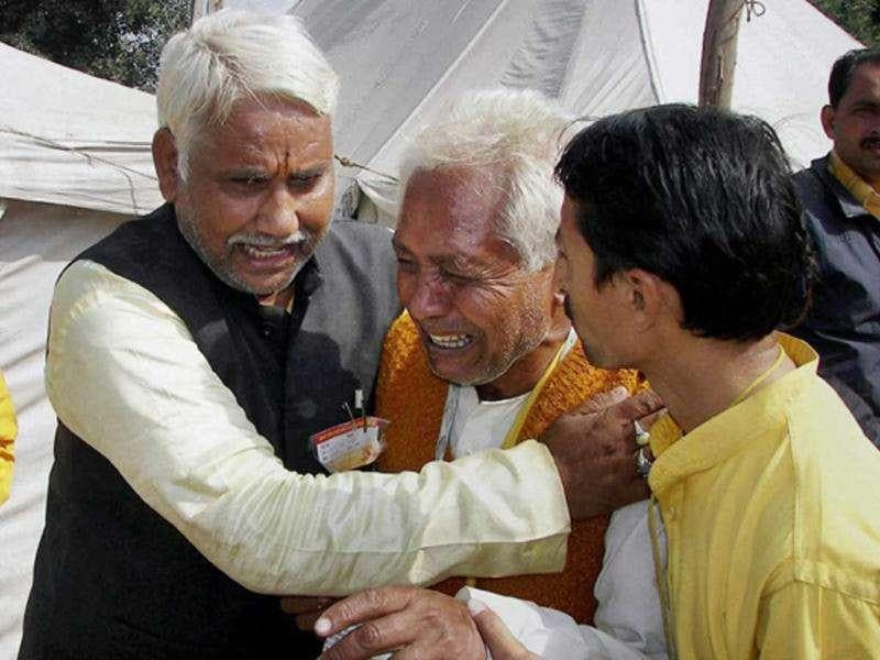 An inconsolable relative of one of the victims after a stampede during Gayatri Mahakumbh in Haridwar on Tuesday.