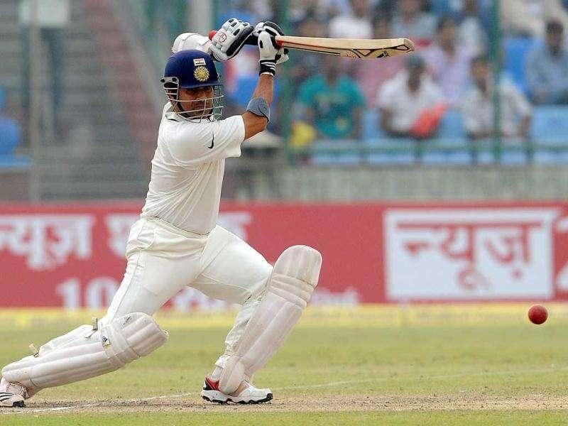 Sachin Tendulkar plays a shot during the third day of the first Test Match against the West Indies at the Feroz Shah Kotla stadium in New Delhi.