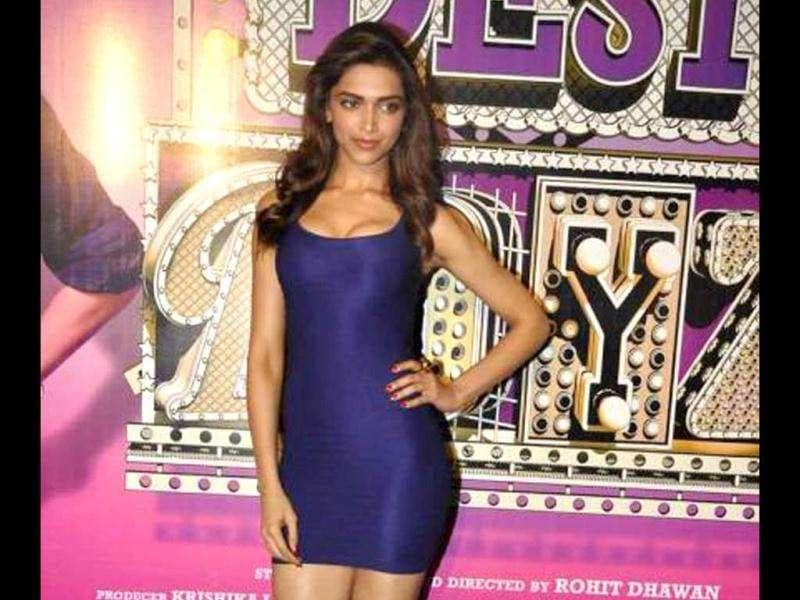 Deepika looks hot in a short blue dress.