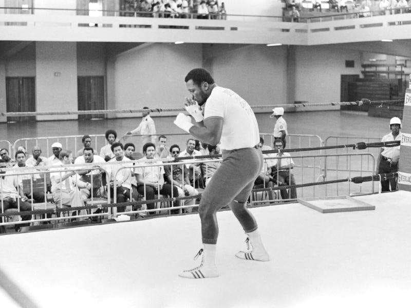 A picture taken in January 1973 of US heavyweight boxing champion Joe Frazier during a training in Kingston before his match against George Foreman. (Photo: AFP, Files)