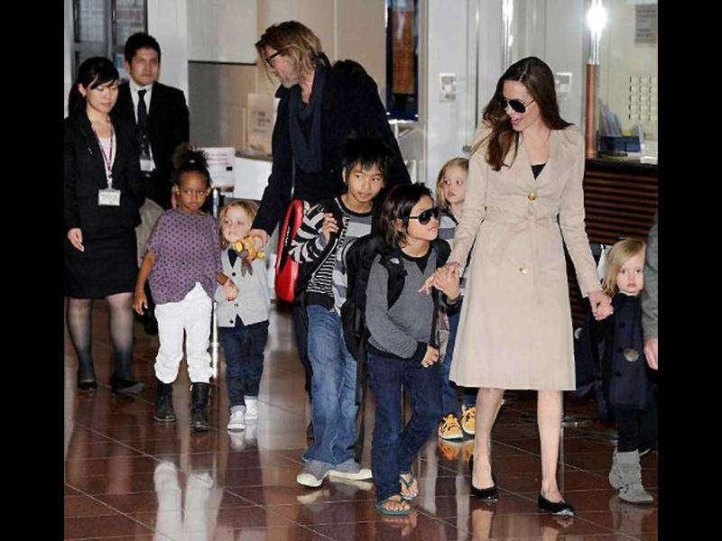 Brad and Angelina with their kids.