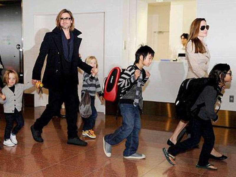 Brad Pitt and Angelina Jolie with their six children.