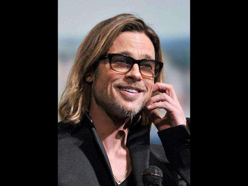 Brad Pitt speaks during the Japan premiere of his latest film Moneyball.