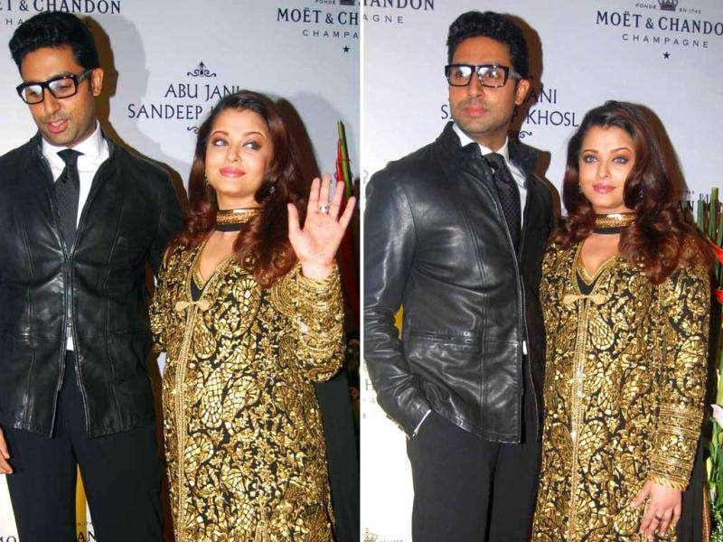 Soon to be mom Aishwarya Rai Bachchan was spotted having fun with hubby Abhishek Bachchan at a party thrown by designer duo Abu Jani and Sandeep Khosla in Mumbai.