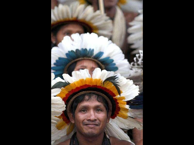Rikibaktsa Indians attend the Indigenous Games on the island of Porto Real in the city of Porto Nacional, Brazil.