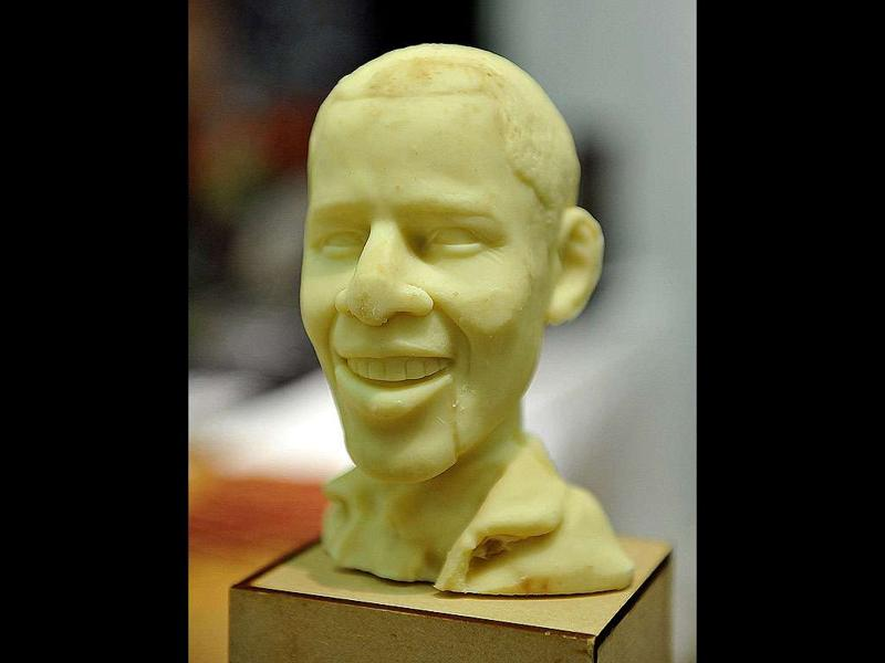 A chocolate bust of US President Barack Obama is displayed during the opening night of the New York Chocolate Show in New York.