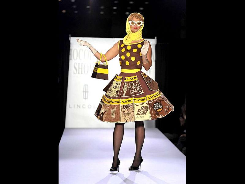 A model displays an outfit made of chocolates during the opening night of the New York Chocolate Show in New York.