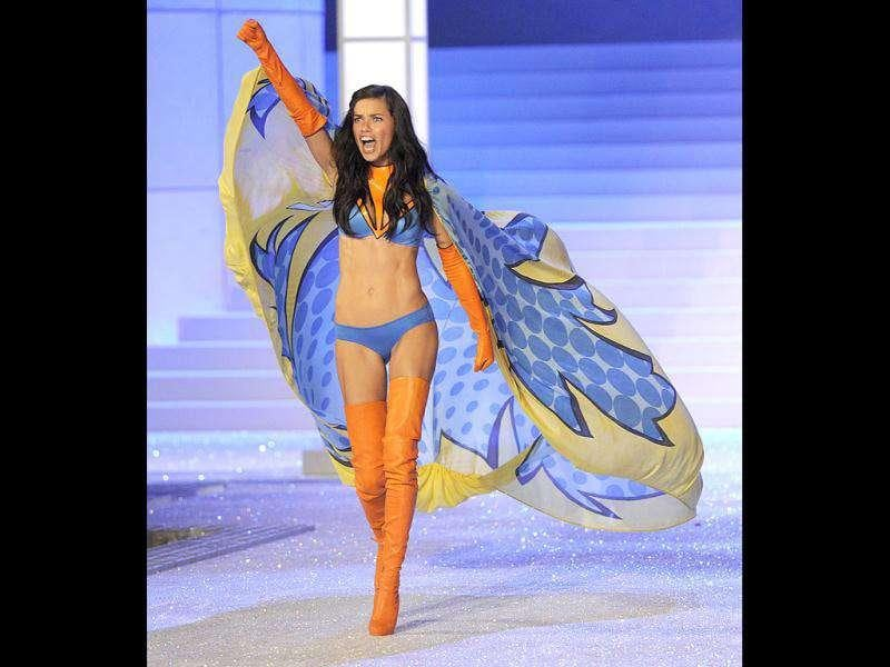 Adriana Lima has the right attitude while displaying lingerie during the Victoria's Secret Fashion Show. (AFP)