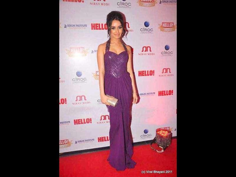 Shraddha looks nice in purple halter gown.