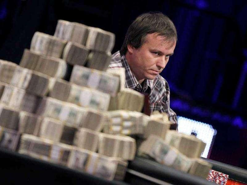 Martin Staszko, of the Czech Republic, competes at the final table of the World Series of Poker in Las Vegas. (AP Photo/Isaac Brekken)