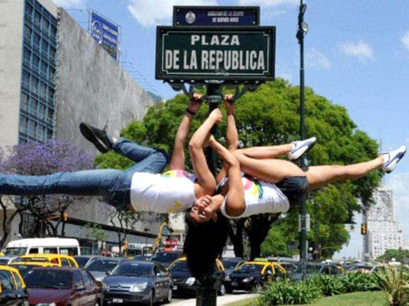South American participants to the Miss Pole Dance Argentina 2011 and Miss Pole Dance South America 2011 competitions perform at Plaza de la Republica square in Buenos Aires.