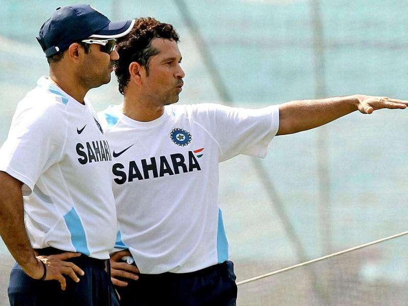 Master blaster Sachin Tendulkar with V Sehwag during their practice session at Eden Garden in Kolkata on the eve of 2nd Test match against West Indies.