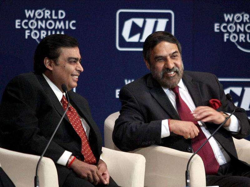 Mukesh Ambani, chairman and MD of Reliance Industries and Anand Sharma, minister of commerce and industry during the India Economic Summit in Mumbai.