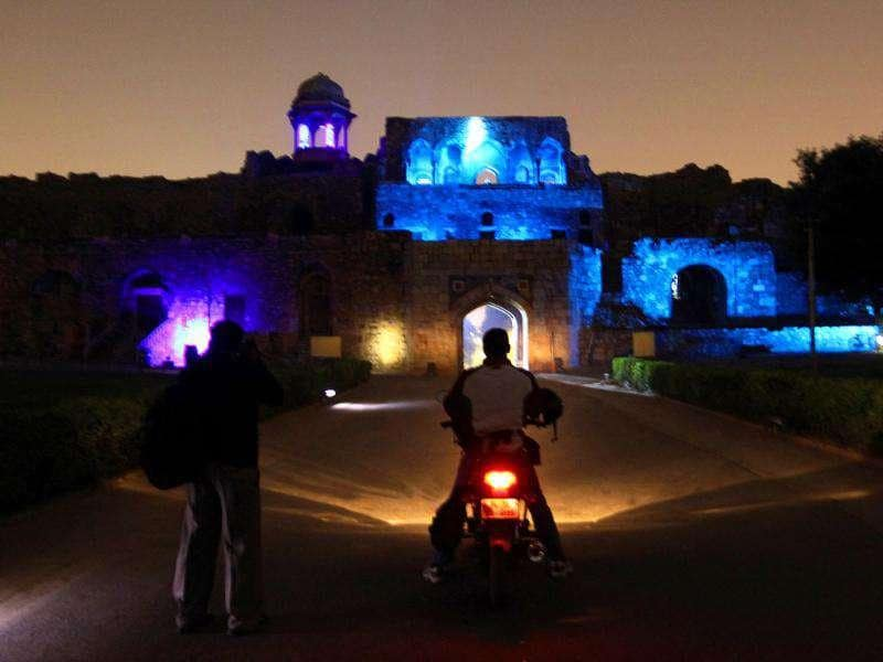 Purana Quila (Old Fort) lit up in spectacular blue lighting in the evening in an attempt to help Delhiites become aware of the dangers of diabetes. The event was organized on the eve of World Diabetes Day which is observed on November 14. HT Photo by Raj K Raj.