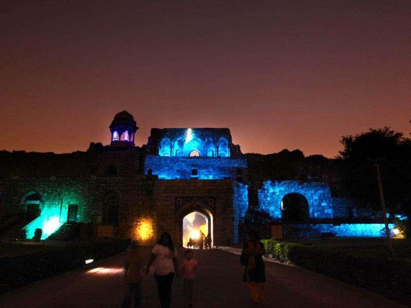Purana Quila (Old Fort) lit up in spectacular blue lighting in the evening in an attempt to help Delhiites become aware of the dangers of diabetes. According to the International Diabetes Federation (IDF), the global diabetic population has reached a staggering 366 million in 2011. HT photo by Raj K Raj.