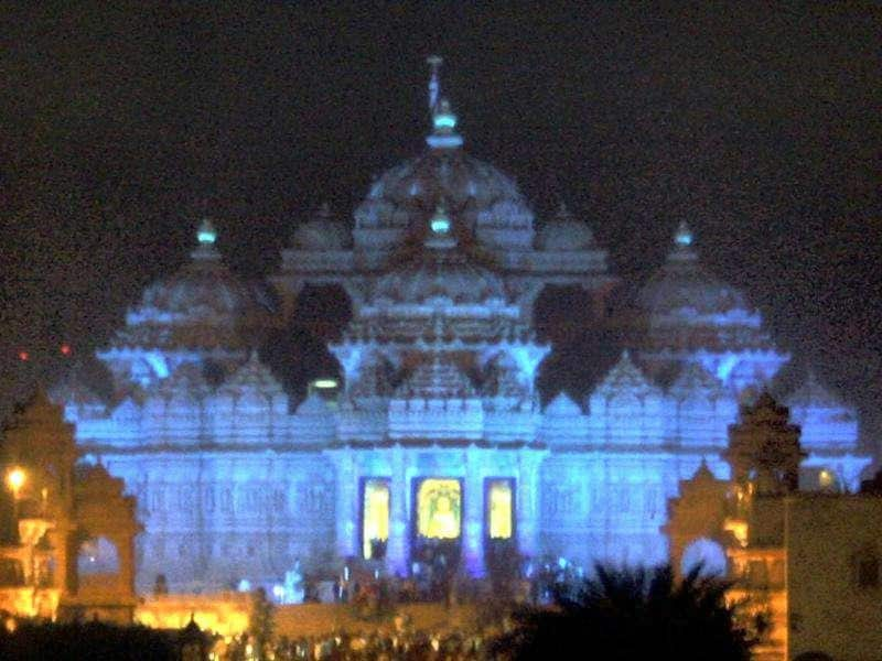 Akshardham Temple lit up in blue lighting in an attempt to help Delhiites become aware of the dangers of diabetes. The event has been organised on the eve of World Diabetes Day. The initiative has been taken up by HEAL Foundation and Via Media Group in association with health and family welfare ministry PTI Photo
