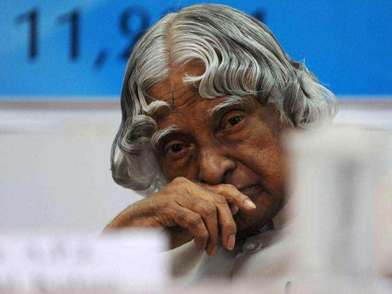 File photo of former president, APJ Abdul Kalam, during his visit to the LD Institute of Indology in Ahmedabad. AFP/Sam Panthaky