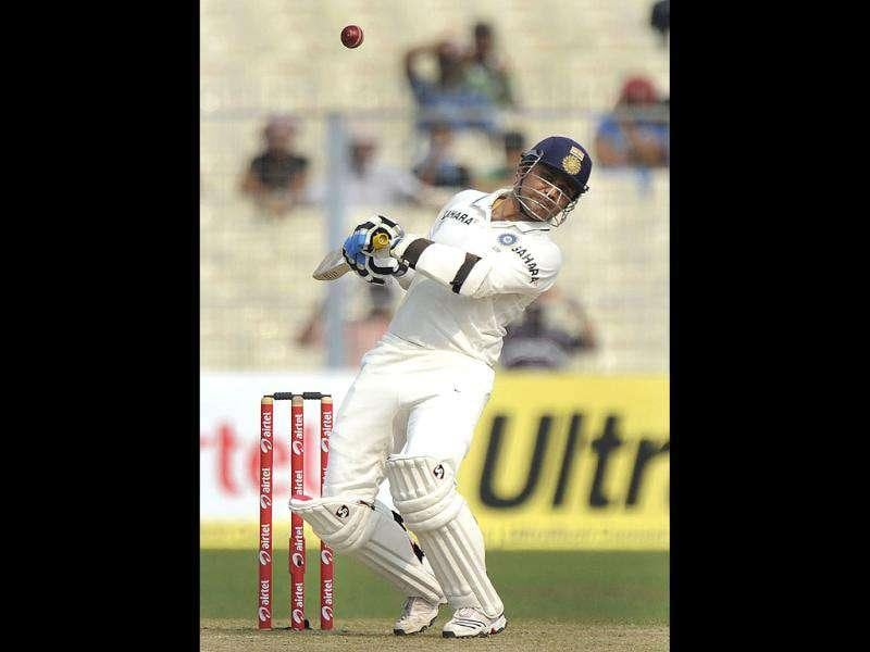 Virender Sehwag ducks the ball during the first day of the second Test match between India and the West Indies at The Eden Gardens in Kolkata.